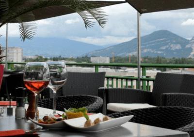 vue de la terrasse panoramique ANTES restaurant Plan les Ouates
